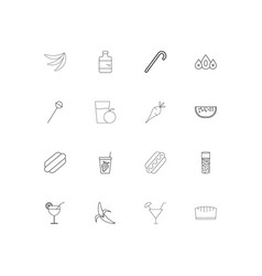 food and drink simple linear icons set outlined vector image