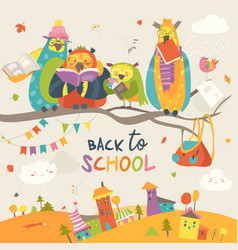 Funny owls on the autumn branch back to school vector