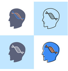 Genetic testing concept icon set in line and flat vector