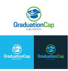 Graduation cap icon and logo vector