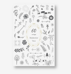 hand drawn doodle sketch ecology organic icons vector image