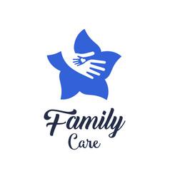 hands with heart in flower logo design symbol of vector image