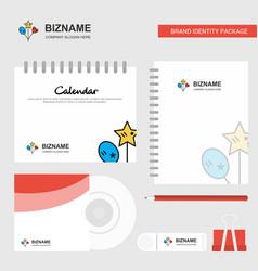 heart and star balloons logo calendar template cd vector image
