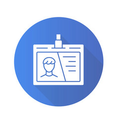 Id tag flat design long shadow glyph icon vector
