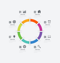 infographics template 8 options with circle vector image