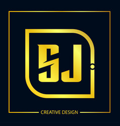 initial letter sj logo template design vector image