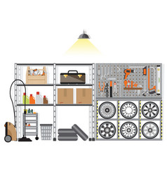 interior storage room with metal shelf vector image