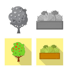 isolated object of farm and agriculture logo set vector image