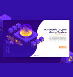 isometric crypto mining concept banner vector image