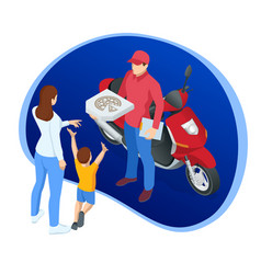 isometric pizza delivery boy holding boxes vector image