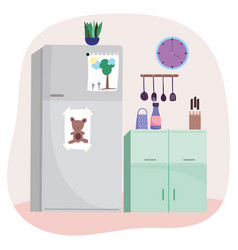 kitchen interior fridge utesils knives clock plant vector image