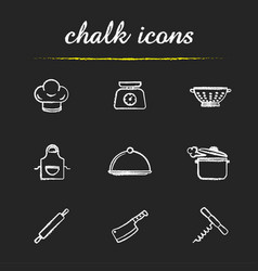 kitchenware chalk icons set vector image