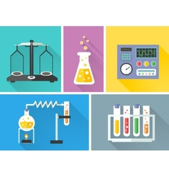 Laboratory equipment decorative icons set vector