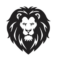 Lion head logo sign black and white design vector