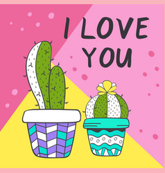 Love card with cute cacti vector