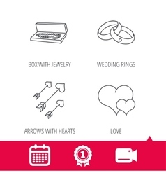 Love heart jewelry and wedding rings icons vector