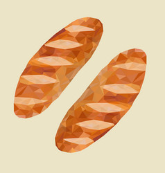 low poly of french breadsdairy product foo vector image