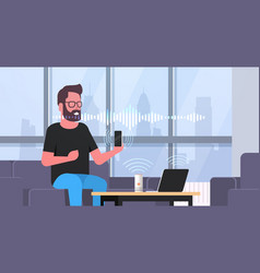 man using smartphone and laptop controlled by vector image