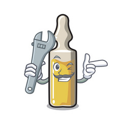 Mechanic ampoule mascot cartoon style vector