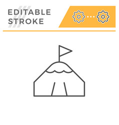 mountain peak editable stroke line icon vector image