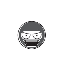 Ninja cartoon face wear mask people emotion icon vector