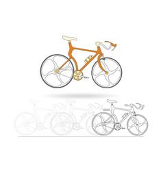 Orange mountain bikes isolated on white background vector