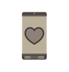 phone love couple day heart mobile cartoon vector image