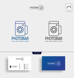Photo bar camera and bar or wine creative logo vector