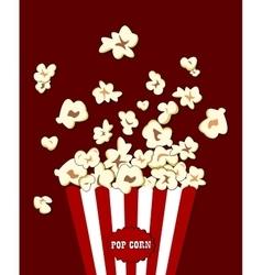 Popcorn exploding inside red white striped vector