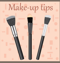 Professional makeup brushes kit vector