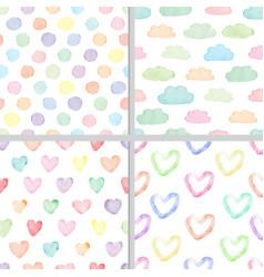 rainbow pastel watercolor minimal heart and cloud vector image
