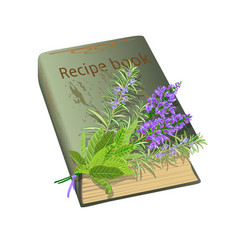 Recipe book and flowers vector