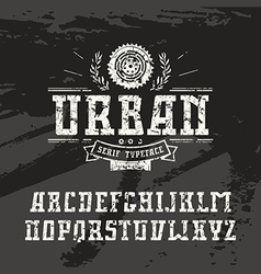 Rectangular serif font in urban style vector