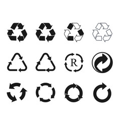 recycling icons set recycled cycle arrows symbol vector image