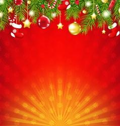 Red christmas sunburst card vector