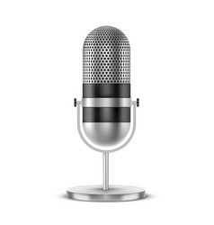 retro microphone silver metal 3d realistic vector image