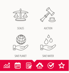 Save nature auction and scales of justice icon vector