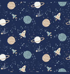 seamless pattern with space rockets planets and vector image
