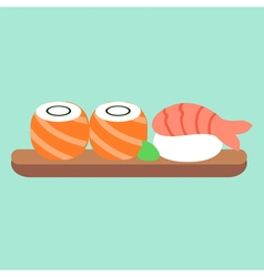 Set of sushi and rolls Asian food Japanese lunch vector image