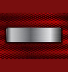 Shiny steel plate on metal perforated background vector