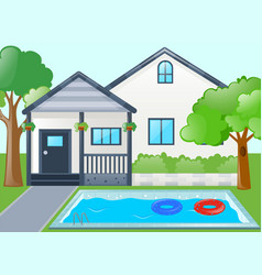 single house with swimming pool vector image