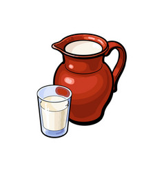 Sketch glass of milk ceramic jug crock vector