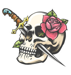 Skull with dagger and rose flower tattoo vector