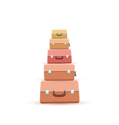 Stack suitcase or luggages or handbags flat vector