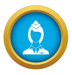 Stewardess icon blue isolated vector