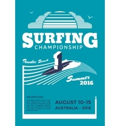 Surfing championship poster vector image