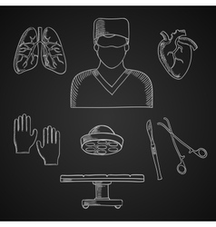 Surgeon profession toos and human organs vector