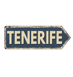 tenerife vintage rusty metal sign vector image