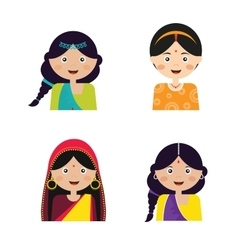 the face an Indian girls in vector image