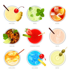 Top cocktails realistic collection vector